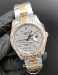 Rolex Saat Datejust Desenli Gri Kadran Taşlı Bezel Çelik Gold Kordon