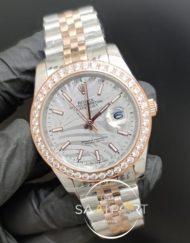 Rolex Saat Datejust Taşlı Bezel Desenli Gri Kadran Otomatik Jubile Kordon