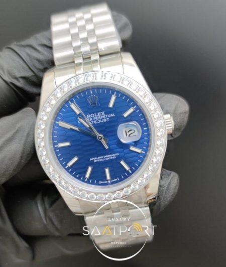 Rolex Saat Datejust Desenli Mavi Kadran Taşlı Bezel Çelik Jubile Kordon