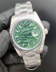 Rolex Saat Datejust 41mm Desenli Yeşil Kadran Tırtıklı Bezel Çelik Kasa