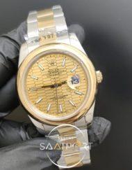 Rolex Saat Datejust 41mm Desenli Sarı Kadran Düz Gold Bezel
