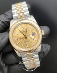 Rolex Saat Datejust 41mm Desenli Gold Kadran Jubile Kordon Düz Bezel