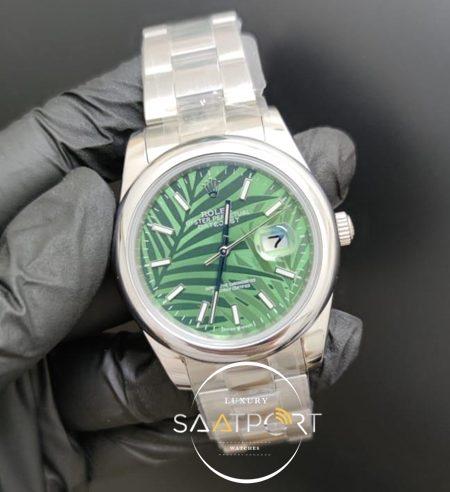 Rolex Saat Datejust 41mm Desenli Yeşil Kadran Düz Çelik Bezel