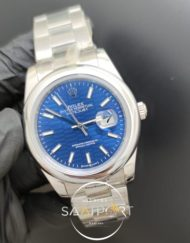 Rolex Saat Datejust 41mm Desenli Mavi Kadran Düz Çelik Bezel