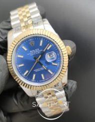 Rolex Saat Datejust Mavi Kadran Jubile Kordon Tırtıklı Gold Bezel