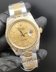 Rolex Saat Datejust Desenli Sarı Kadran Tırtıklı Bezel Çelik Gold Kordon