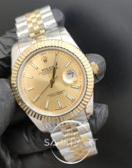 Rolex Saat Datejust Sarı Kadran Tırtıklı Gold Bezel Jubile Kordon