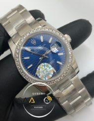 Rolex Saat Otomatik Datejust Taşlı Bezel Desenli Mavi Kadran Oyster Çelik Kordon