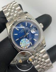 Rolex Saat Otomatik Datejust Tırtıklı Bezel Desenli Mavi Kadran Jubile Çelik Kordon