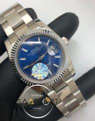 Rolex Saat Otomatik Datejust Tırtıklı Bezel Desenli Mavi Kadran Oyster Çelik Kordon