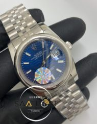 Rolex Saat Otomatik Datejust Düz Bezel Desenli Mavi Kadran Jubile Çelik Kordon