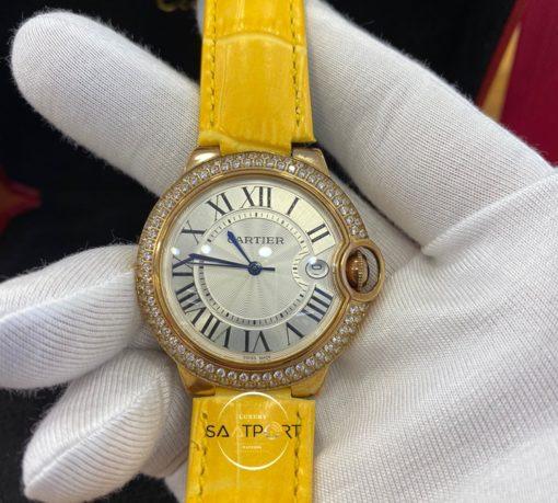 Cartier Ballon Bleu Taşlı Gold Bezel Deri Kordon Roma Rakamlı Kadran
