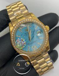 Rolex Saat Day Date Taşlı Gold Bezel Gold Kasa Roma Rakamlı Taşlı Turkuaz Kadran