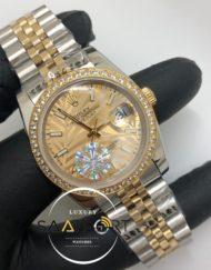 Rolex Saat Datejust Desenli Gold Kadran Jubile Çelik Kordon Otomatik Taşlı Baget Bezel