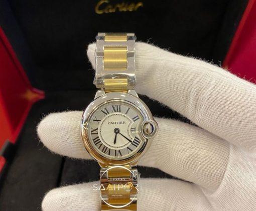 Cartier Ballon Bleu Düz Çelik Bezel Otomatik Bayan Saati