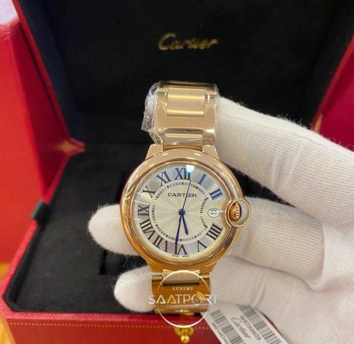 Cartier Ballon Bleu Çelik Düz Gold Bezel Roma Rakamlı Kadran