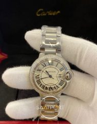 Cartier Ballon Bleu Taşlı Bezel Roma Rakamlı Kadran Bayan Saati