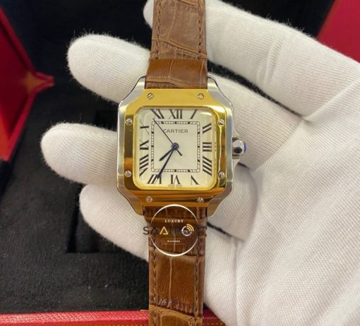 Cartier Panthere Çelik Gold Bezel Roma Rakamlı Beyaz Kadran Deri Kordon