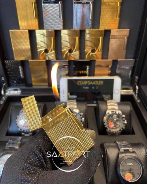 S.T. Dupont Paris Gold Çelik Desenli Kasa
