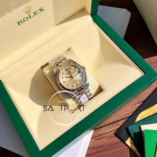 Rolex Datejust 116200 Oyster Özel Seri Taşlı Gold Kadran Super Clone ETA