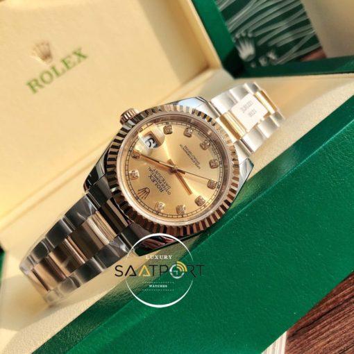 Rolex Datejust 126233 Taşlı Gold Kadran Oyster Super Clone ETA
